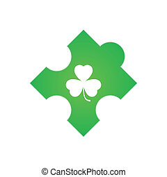 Puzzle piece with clover icon