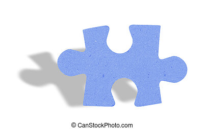 puzzle piece with shadow on white