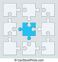 9 puzzle pieces. Vector illustration. Jigsaw template