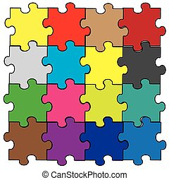 puzzle pieces assembly in rainbow