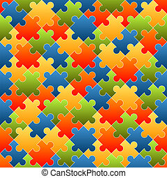 Puzzle pieces background colored - endless