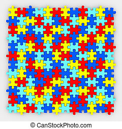 Puzzle Pieces Background Diverse Colors Fitting Together -...