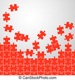 Puzzle pieces background red