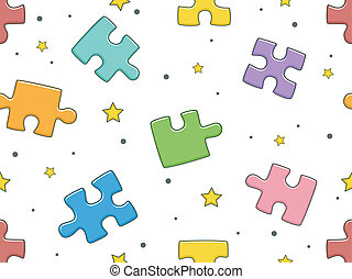 Puzzle Pieces Background - Seamless Background Illustration ...