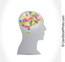 puzzle pieces brain and head illustration design over a ...