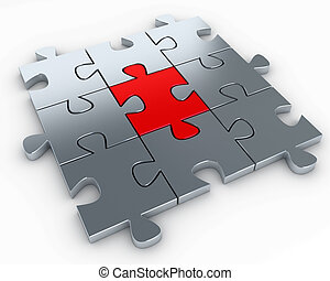 Puzzle pieces - Puzzle pieces, with a red piece in the...