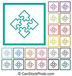 Puzzle pieces flat color icons with quadrant frames