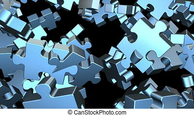 Puzzle pieces flying
