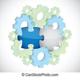 puzzle pieces gear illustration design
