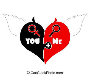 Puzzle Pieces Heart With Angel Wings, Devil Horns