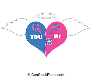 Puzzle Pieces Heart With Angel Wings, Halo Above