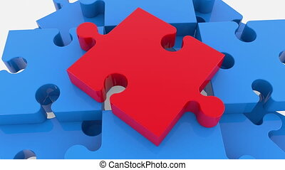 Puzzle pieces in blue with red one on top view