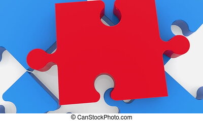 Puzzle pieces in red and blue on white