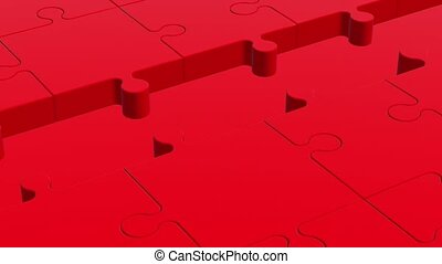 Puzzle pieces in red and white colo