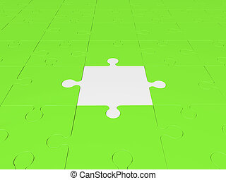 Puzzle pieces in white and green