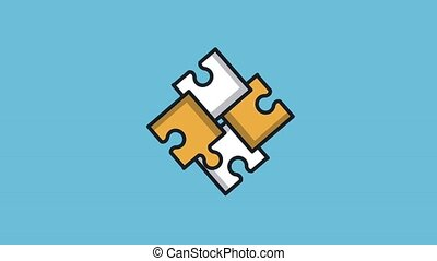 Puzzle pieces joining HD animation - Puzzle pieces joining...