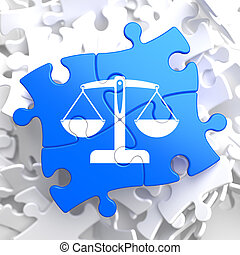 Puzzle Pieces: Justice Concept. - Justice Concept - Icon of...