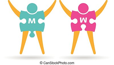 Puzzle pieces man and woman logo