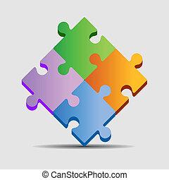Puzzle 4 color pieces on light background