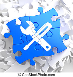 Puzzle Pieces: Service Concept. - Service Concept - Icon of...