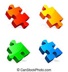 Set of 4 colorful puzzle pieces.