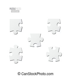 Puzzle pieces set. Vector different blank puzzle pieces isolated on white background.