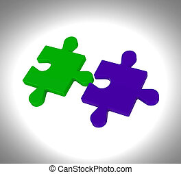 Puzzle Pieces Shows Teamwork Connection Solution - Puzzle...