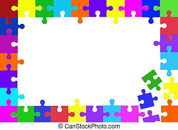 Puzzle Pieces - Colorful puzzle pieces border on white.