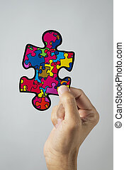 puzzle pieces, symbol of the autism awareness