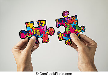 puzzle pieces, symbol of the autism awareness