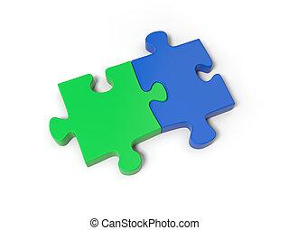 Puzzle pieces - Two 3d puzzle pieces on the whole puzzle