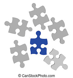 Puzzle Pieces - Image of various puzzle pieces on a white...
