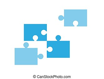 Puzzle pieces vector isolated icon. Illustration in flat style.