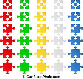Puzzle pieces - Vector jigsaw puzzle pieces