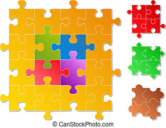 Puzzle pieces - Vector jigsaw puzzle pieces on white...