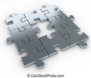 Puzzle pieces, with a missing piece