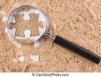 Puzzle Pieces With Magnifying Glass