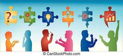 Puzzle pieces with problem solving symbols. Colored profile people gesturing. Business solution. Concept problem solving team. Strategy and success. Client service. Blue background