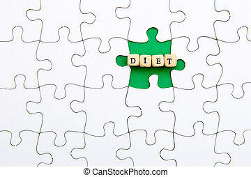 Puzzle Pieces - with word Diet in missing green space
