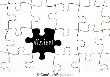 Puzzle Pieces - with word Vision in black chalkboard space
