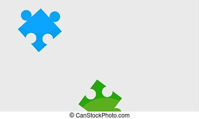 puzzle pieces work team animation hd - falling puzzle pieces...