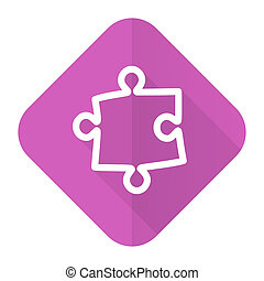 puzzle pink flat icon
