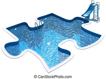 puzzle, piscine, formulaire