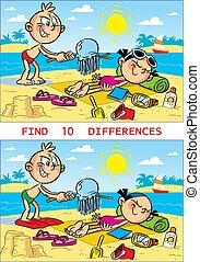 puzzle, plage, enfants