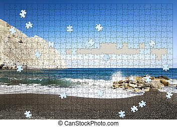puzzle, plage, incomplet
