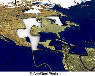 puzzle, planisphère, nous