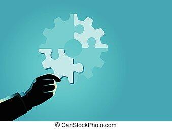 puzzle, possession main, homme affaires, morceau, final