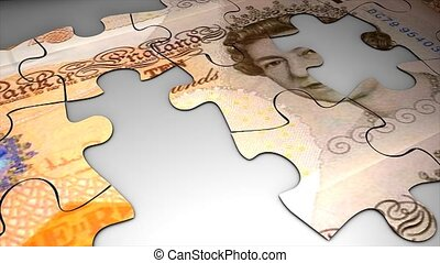 Puzzle Pound sterling - Currency puzzle, Pound sterling.