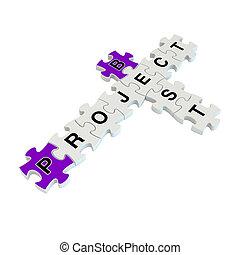 puzzle, projet, fond, blanc, mieux, 3d