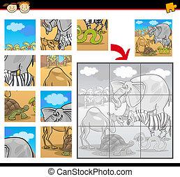 puzzle, puzzle, animaux, dessin animé, safari